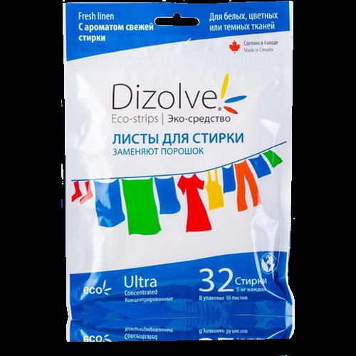 Листы для стирки Dizolve с ароматом «свежей стирки», 1 упаковка (32 стирки)