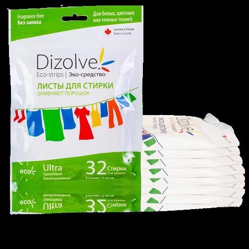 Листы для стирки Dizolve без запаха, 6 упаковок (192 стирки)